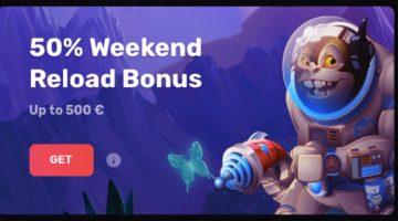 Casinomia 50% premija kiekvieną savaitgalį